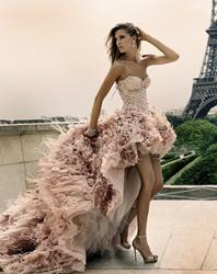 каскадное свадебное платье